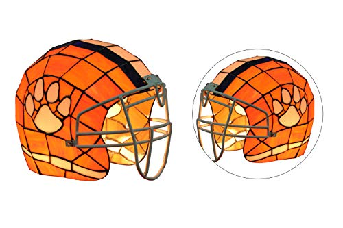 Stained Tigers Desk Glass - Yogoart NCAA Clemson Tigers Stained Glass Orange Helmet Table Lamp 10.8