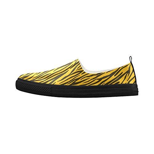 D-Story Custom Yellow Zebra Stripes Apus Slip on Microfiber Womens Shoes(Model 021) YPM9nWzM6