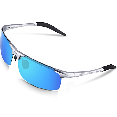 WOOLIKE Mens Sports Style Polarized Sunglasses for Cycling Running Fishing Driving Golf Unbreakable Al-Mg Frame Metal Glasses W817 (Sliver&Blue Lens)