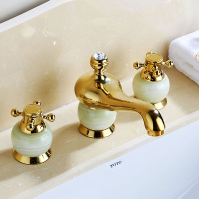 Style C U-Enjoy Contemporary pink gold Top Quality 3 Hole Bathtub Faucet Deck Mounted Widespread Hot and Cold Water Taps (Style A)