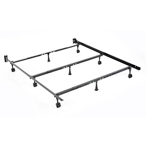 Solutions Compact Universal Folding Bed Frame with Tool-Free Assembly, Black Powder Coat Finish, Twin - California King by Fashion Bed Group