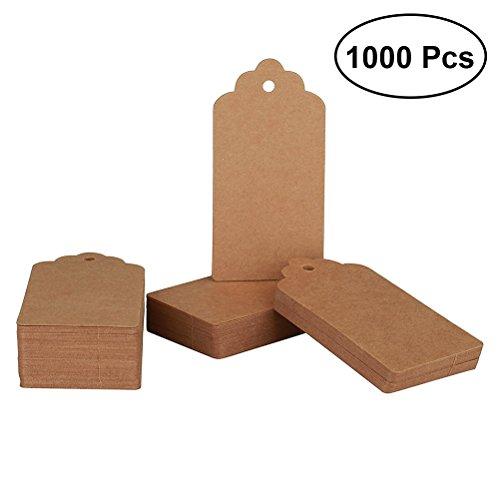 UKCOCO 1000 Pcs Plain Kraft Paper Hang Tag Name Tag Price Tag Gift Tag for Marking Mailing Shipping