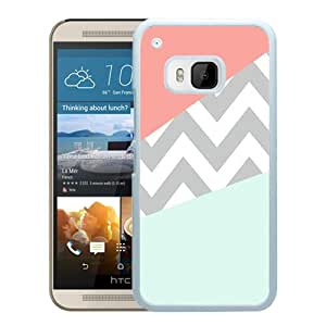 New Fashion Custom Designed Cover Case For HTC ONE M9 With Case Coral Mint Grey Chevron White Phone Case
