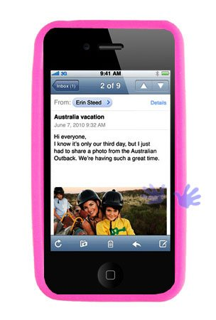 GTMax Hot Pink Soft Rubber Silicone Skin Cover Case for Apple iPhone 4 4G 16GB / 32GB 4th Generation
