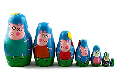 Matryoshka Russian Nesting Wooden Doll Peppa Pig 7 Pcs Set Funny Decorative Stacking Hand Painting Beautiful Nested Great Gift Craft Matreska Matrioska Matreshka Matrjoska Matroeska