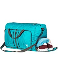 Coreal 60l Foldable Travel Camping Duffel Luggage Gym Sport Bag with Shoe Compartment