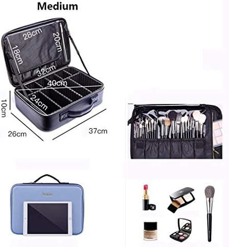 化粧品収納ボックス 大容量多機能キャラクター分類化粧品袋家庭用旅行ポータブル収納ボックスPUソフトレザー防水素材ブルー SYFO (Size : M)