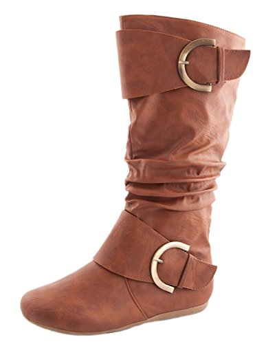 Top Moda Women's Round Toe Slouchy Boot with Buckle Tan