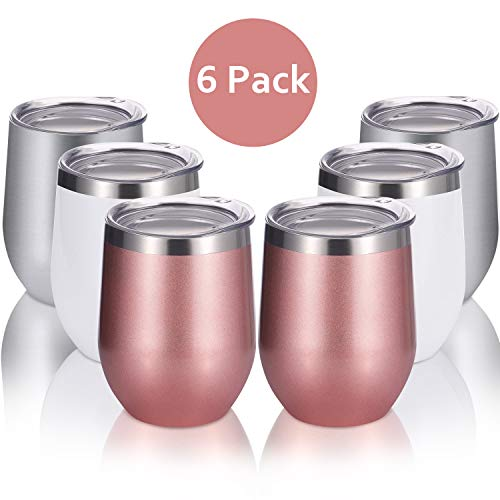 Skylety 6 Pack 12 Oz Unbreakable Drink-Ware Stemless Wine Tumbler, Stainless Steel Triple-Insulated Vacuum Wine Glass Cup with Lids for Wine, Coffee, Champagne, Cocktails and Beer (Multi-Color A)
