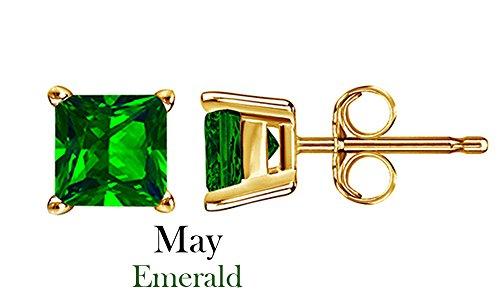 10k Yellow Gold 4mm Princess Cut Simulated Green Emerald Stud (10k Yg Emerald)