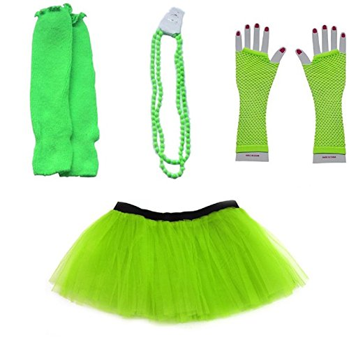 Mystiqueshapes 80s Fancy Costume Set - TUTU & LEG WARMERS & FISHNET GLOVES & BEADS (Green) (80s Womens Fancy Dress)