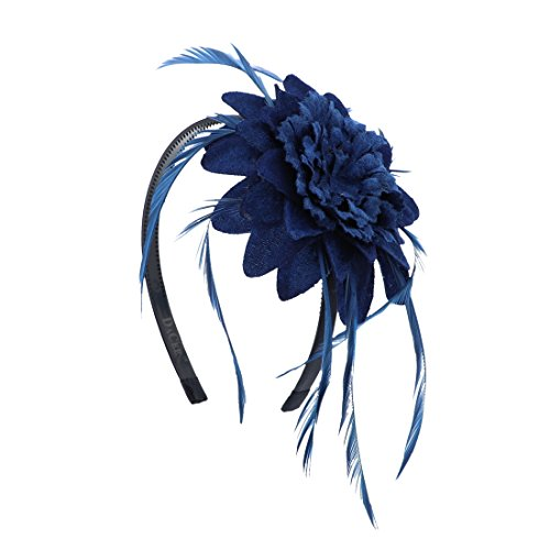 Fascinator Hat for Women Feather Cocktail Headband (Navy) by DaCee Designs Accessories