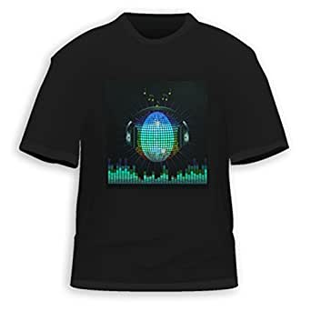 HDE Men's Sound-Activated LED T-Shirt (DJ Headphones, X-Large)