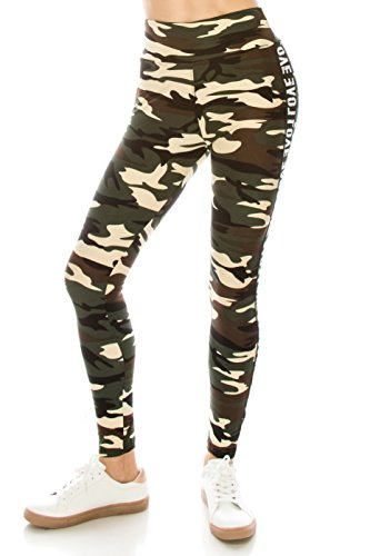 ALWAYS Legging Women Track Pants - Premium Soft Stretch Buttery Camo Print Love Elastic Band 57 One Size by ALWAYS (Image #3)