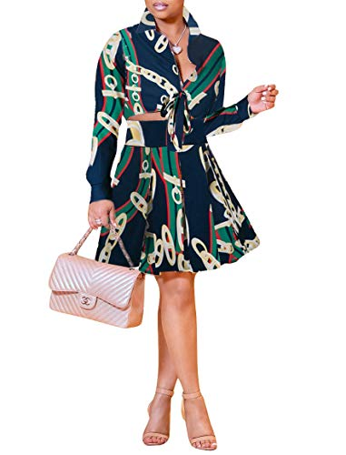 Two Piece Outfits Women Elegant Long Sleeve Blouse A-Line Pleated Skirt