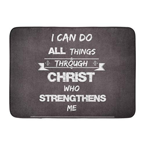 Allenava Bath Mat Verses I Can Do All Things Christ Bible Verse Scripture Bathroom Decor Rug 16'' x 24'' by Allenava