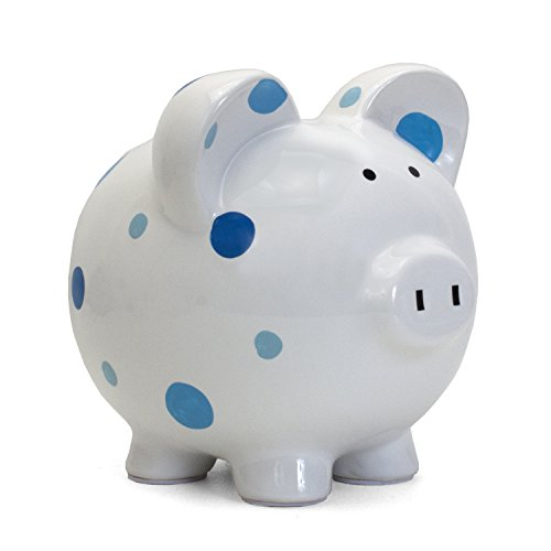 (Child to Cherish Ceramic Polka Dot Piggy Bank for Boys, Blue)