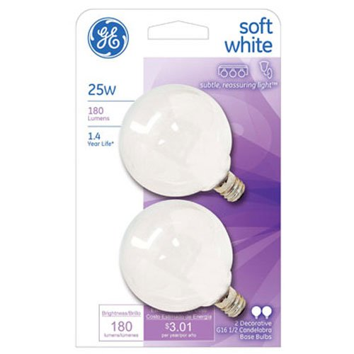 1/2 Clear Globe Lamp (GE Lighting 44412 25-watt 180-Lumen Candelabra Base G16.5 Globe Light Bulb, Soft White)