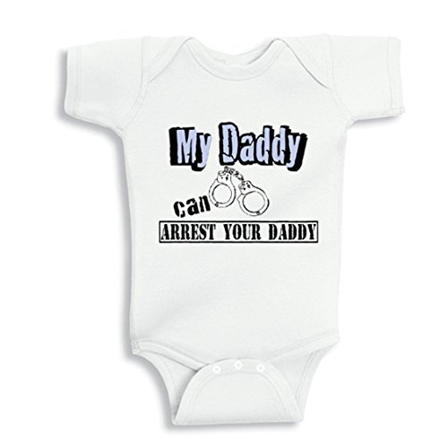 NanyCrafts Baby's My Daddy Can Arrest your Daddy Baby bodysuit 6M White