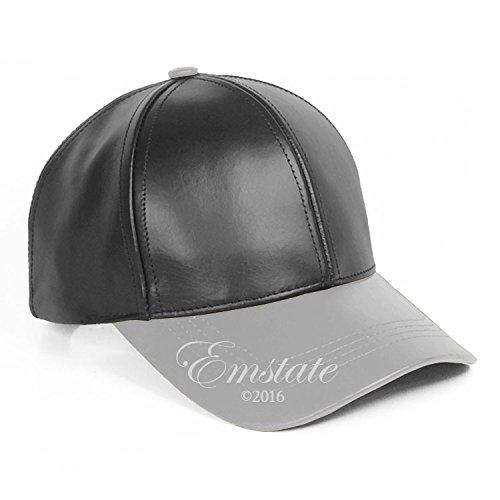 Emstate Genuine Cowhide Leather Unisex Adjustable Baseball Cap Made in USA (Black/LightGrey) - Genuine Baseball Hat