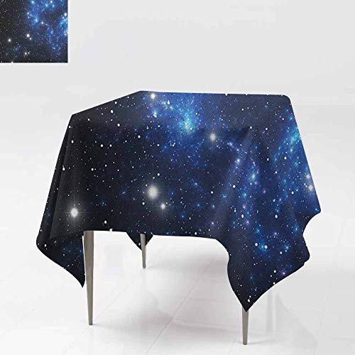 (DUCKIL Fabric Dust-Proof Table Cover Outer Space Star Nebula Astral Cluster Astronomy Theme Galaxy Mystery Soft and Smooth Surface W60 xL60 Blue Black White)