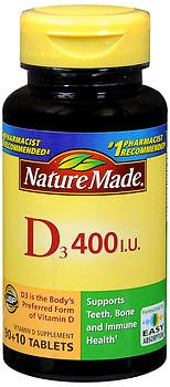 Nature Made Vitamin D3 400 IU Tablets 100 ea (Pack of 3)