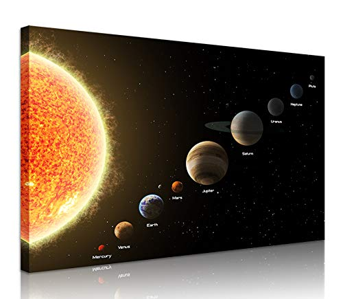 Natural art Solar System Prints on Canvas Planets Framed Canvas Prints Wall Art for Boys Bedroom 24x36 Inch ()