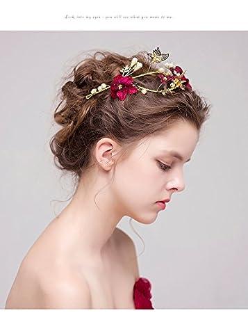Tiara Gold Und Rote Blumen Und Rhinstone Fur Frisuren Braut