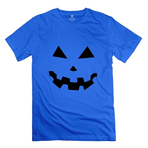 LiaoYang Jack-o'-Lantern Two Halloween Pumpkins Royal Blue Adult Standard Weight T-Shirt for Men -