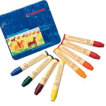 Stockmar Beeswax Stick Crayons in Storage Tin, Set of 8 Colors, Waldorf Assortment (Stockmar Wax Crayons compare prices)