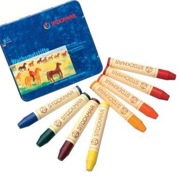 Stockmar Stick Crayons (Stockmar Beeswax Stick Crayons in Storage Tin, Set of 8 Colors, Waldorf Assortment)