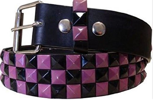 Leather 3 Pyramid Studded Belt - 7