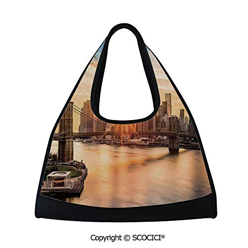 - Table tennis bag,Cityscape of Brooklyn Bridge and Lower Manhattan River Center of Fashion Art and Culture,Bag for Women and Men(18.5x6.7x20 in) Multi