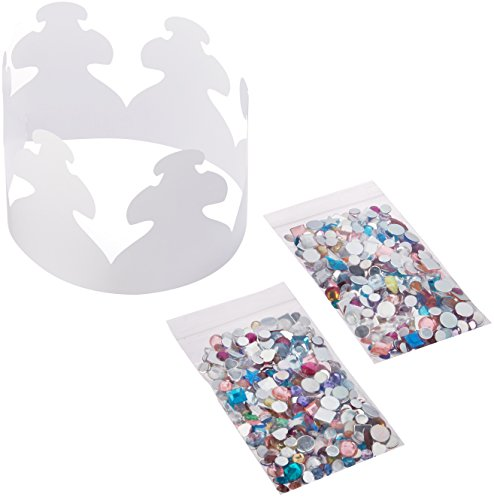 Hygloss Products DIY Party Crown Kits - Decorating Paper Hat Kit with Approximately 600 Gemstones - 24 Party Crowns Per Pack -