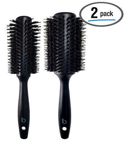2 Pack Styling Double Bristle Wooden Round Brushes by Better Beauty Products, 1.3 inch/33mm and 1.7 inch/44mm, Styling Hairbrush with Natural Soft Boar and Nylon Bristles, Black Wood Finish, Set of 2 (Best Boar Round Brush)