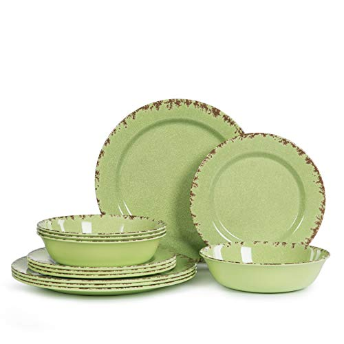 12pcs Melamine Dinnerware set for 4, Outdoor Use Dinner Dishes Set for Camper, Break-resistant, Green Beans ()