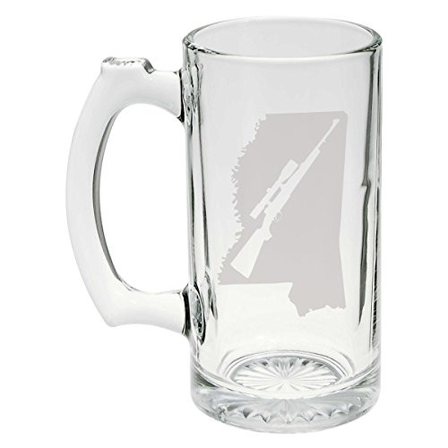 State of Mississippi with Scoped Hunting Style Rifle Cutout Etched Stein Glass 25oz, Mug