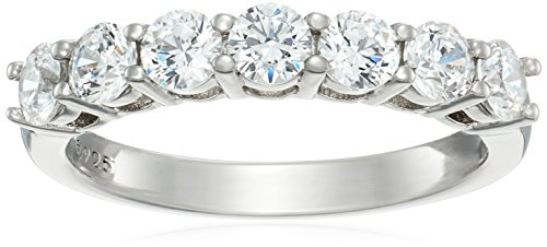 - Platinum-Plated Sterling Silver 7-Stone Ring made with Swarovski Zirconia (1 cttw), Size 8