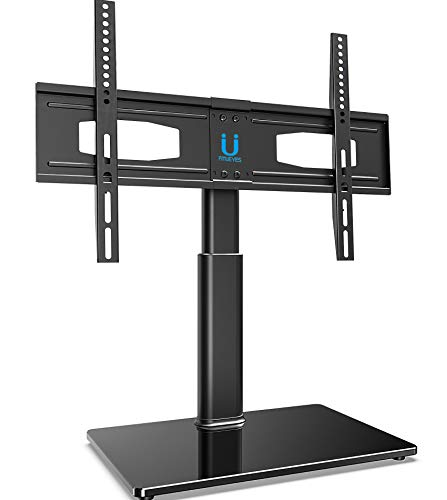 FITUEYES Universal Table Top TV Stand for 32 to 60 Inch TVs with 80 Degree Swivel, 6.2 Inch Height Adjustment,Tempered Glass Base,Hold up to 66lbs Screens (A Inch Tv Tv 60 For Stand)