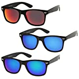 zeroUV - Matte Finish Reflective Color Mirror Lens Large Square Horn Rimmed Sunglasses 55mm (3 Pack | Red + Blue + Gree)
