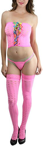 Lace Up G-string (ToBeInStyle Women's Crochet Lace Up Tube Top With G-String And Thigh Hi - NPINK )