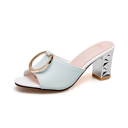 Btrada Women's Fashion Fashion Fashion Slide Sandals Fish Mouth Slip-on Metal Heeled Mules Summer Pumps Dress Shoes Parent B07DPMBZ7T 8583ec