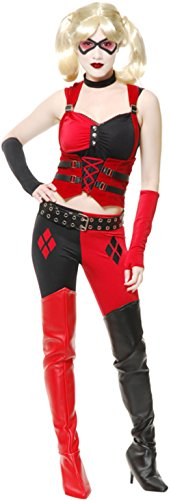 Women's Small 5-7 Sexy Black And Red Harlequin Corset Costume (Harley Quinn Costume Teen)