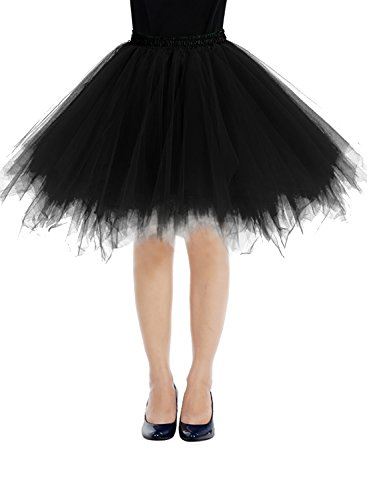 Bbonlinedress Women's Mini Vintage Patticoat Tutu Three-Layer Multicolor Bubble Skirt Black S (Black And Purple Tutu Skirt)