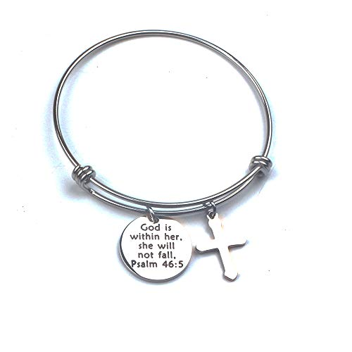 Anlive Bible Verse God is Within her, she Will not Fall, Psalm 46:5 Bracelet-Scripture (Bible Verse About Giving To Others In Secret)