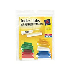 Avery 16219 Insertable Index Tabs With Printable Inserts, 1, Assorted Tab (Pack Of 25)
