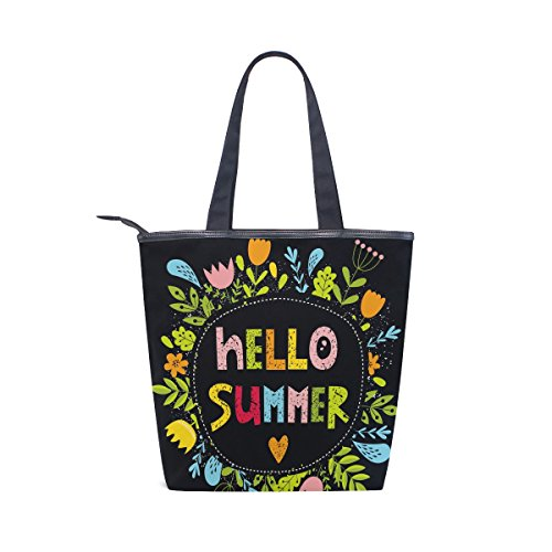 MyDaily Canvas Handbag Flower Hello Floral Bag Shoulder Colorful Summer Womens Tote 7gqwnr57