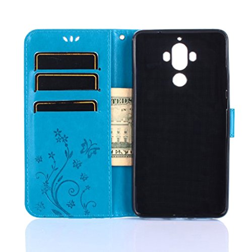 Trumpshop Smartphone Carcasa Funda protección para Huawei Mate 9 + Rosado + PU Cuero Caja Protector Billetera con la Ranura la Tarjeta Choque Absorción Azul