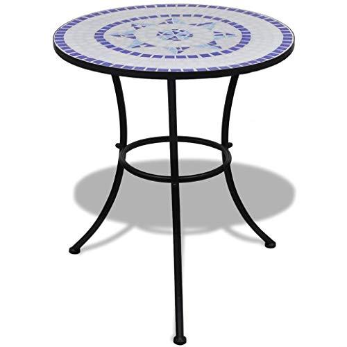 vidaXL Bistro Table Mosaic Ceramic Blue White Outdoor Garden Patio Cafe ()