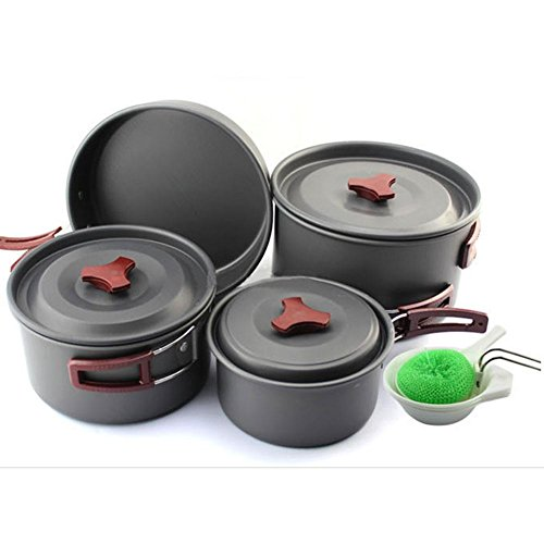 Qike pot set tableware outdoor cooking units camping pot coffeepot for 4-5 people